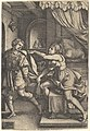 Joseph strides away from Potiphar's wife, who clutches his cloak with both hands as she straddles the corner of a bed, from the series 'The Story of Joseph' MET DP828518.jpg