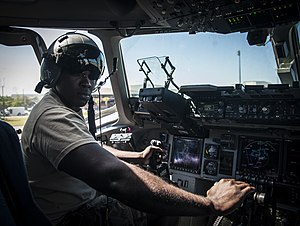 Joshua Henry - Joshua Henry in the cockpit of a C-17 Globemaster III for Army Wives in 2013