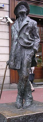 Bronze statue of Joyce standing in a coat and broadbrimmed hat. His head is cocked looking up, his left leg is crossed over his right, his right hand holds a cane, and his left is in his pants pocket, with the left part of his coat tucked back.