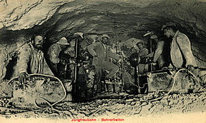 Lauterbrunnen - Miners working on the Jungfraubahn