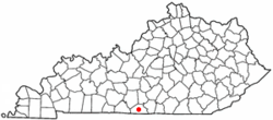 Location of Tompkinsville, Kentucky