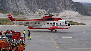 Air Greenland - Air Greenland Sikorsky S-61N helicopter, acquired in 1965, is the oldest machine in the fleet. The Sikorsky S-61N at Kangerlussuaq Airport (2009)