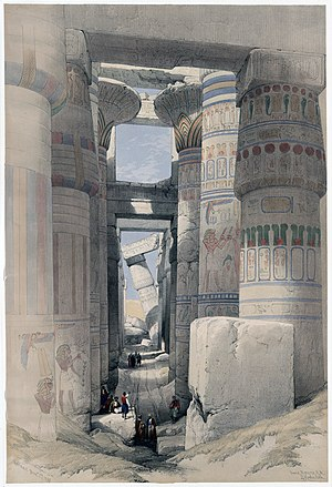 """Karnac: """"Dromos or first court of the temple."""" Colored lithograph"""
