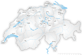 Map of Switzerland highlighting the Canton of Zug