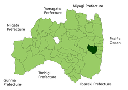 Location of Kawauchi in Fukushima