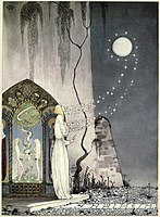 Kay Nielsen - East of the sun and west of the moon - The lassie and her godmother - She coud not help setting the door a lttle ajar.jpg