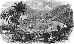 Kealakekua Bay - Ships in the bay (sketch by Rufus Anderson)