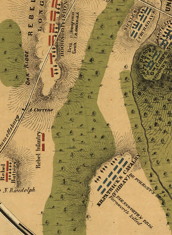 gettysburg map showing south cavalry field on july 3 1863