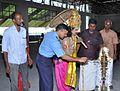 King Mahabali and Commodore Kamlesh Kumar, Station Commander, Ezhimala inaugurating Onam festival at Indian Naval Academy by lighting 'bhadradeepam' the traditional oil lamp.jpg