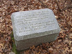 Metacomet - The site of King Philip's death in Miery Swamp on Mount Hope