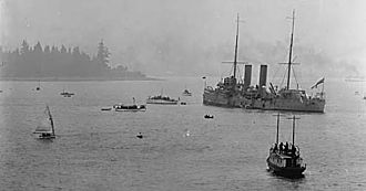 HMCS Rainbow (1891) - HMCS Rainbow in Vancouver's English Bay, where she was sent to guard the freighter Komagata Maru in July 1914
