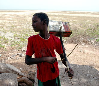 Sub-Saharan African music traditions - Gambian boy with bowed tin-can lute