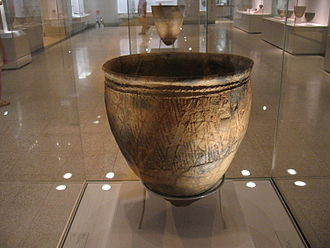 Jeulmun pottery period - Classic Jeulmun vessel with wide mouth, c. 3500 BC. From National Museum of Korea.