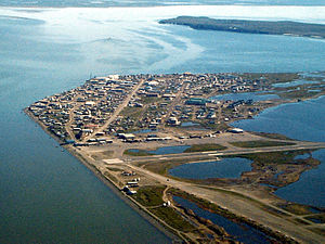 Aerial view of Kotzebue, Alaska, USA.