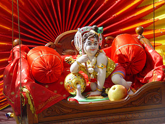Nezha - An image of baby Krishna displayed during Janmashtami  celebrations.