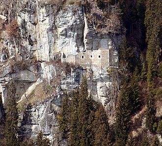 Cave castle - Kropfenstein Castle near Waltensburg/Vuorz, Graubünden, Switzerland