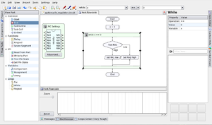 KTechLab - KTechlab supports programming microcontrollers using a graphical flowchart based language called flowcode.