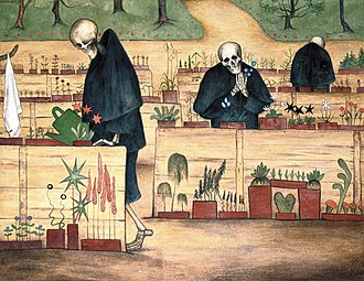 Death - Death tending to his flowers, in Kuoleman puutarha, Hugo Simberg (1906)