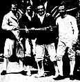 L'équipe de France au fleuret, vice-championne olympique en 1936 (G. à D. René Lemoine, André et Edward Gardère, et Jacques Coutrot).jpg