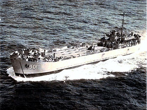 LST-901 underway off the coast of California, 1952