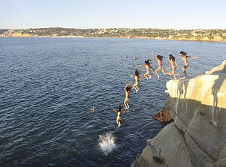 Quadratic equation - Image: La Jolla Cove cliff diving 02