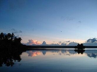 Rennell Island - Sunset over Lake Tegano. Taken 2008