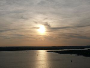 Lake Travis at sunset, from The Oasis (Austin,...