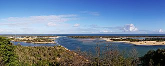 "Lakes Entrance, Victoria - Lakes Entrance. The town is on the left and ""The Entrance"" is near the centre"