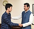 Lakshya Sen, 16, Winner of Badminton Asian Junior Championships title in Jakarta recently, calling on the Minister of State for Youth Affairs & Sports and Information & Broadcasting (IC), Col. Rajyavardhan Singh Rathore.JPG