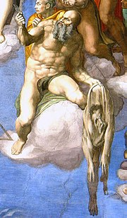 St Bartholomew displaying his flayed skin (a self-portrait by Michelangelo) in the Last Judgement.