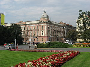 Miroslav Krleža Institute of Lexicography - The institute's building viewed from Republic of Croatia Square in Zagreb