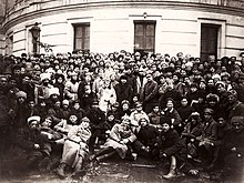 Lenin, Trotsky and Voroshilov with Delegates of the 10th Congress of the Russian Communist Party (Bolsheviks).jpg