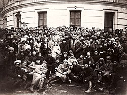 Lenin, Trotsky and Voroshilov with Delegates of the 10th Congress of the Russian Communist Party (Bolsheviks)