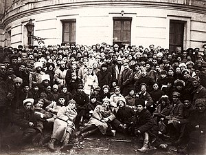 Central Committee elected by the 10th Congress of the Russian Communist Party (Bolsheviks) - Vladimir Lenin, Leon Trotsky and Kliment Voroshilov standing with delegates to the 10th Party Congress