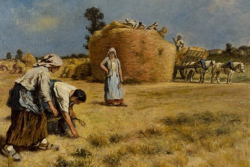 Leon Augustin L'hermitte - harvest scene, 32 by 38 inches
