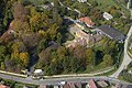 Lesencetomaj, a Nedeczky-kastély és parkjának bejárata légi fotón.jpg