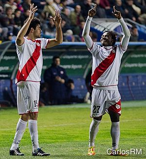 Diego Costa - Costa on loan at Rayo Vallecano, celebrating with the goalscorer, Alhassane Bangoura, in a match against Levante, on 19 February 2012.