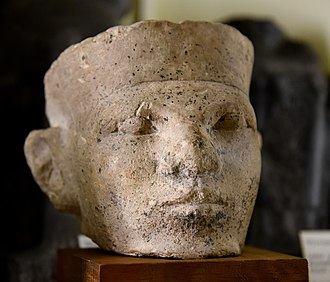 Narmer - Limestone head of a king. Thought by Petrie to be Narmer. Bought by Petrie in Cairo, Egypt. 1st Dynasty.