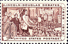 4 cent stamp with a drawing of Lincoln giving a speech to a crowd.