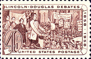 Lincoln–Douglas debates - U.S. Postage, 1958 issue, commemorating the Lincoln and Douglas debates.