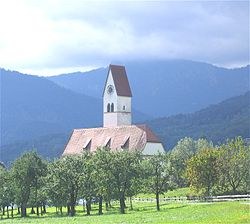Church in the village of Lippertskirchen, part of Bad Feilnbach municipality