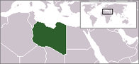A map showing the location of Libya