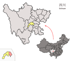 Location of Renshou within Sichuan (China).png