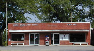 Lockhart, Alabama - The Lockhart post office and town hall share a building at the east end of oak-canopied Seminole Street.