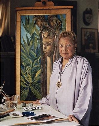 Lois Mailou Jones - Lois Jones in her studio, c1977