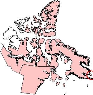 Loks Land Island - Loks Land Island, Nunavut (red circle at right edge)