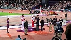 London 2012 Women's Discus Throw Victory Ceremony.jpg