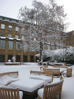 The London Business School courtyard covered i...