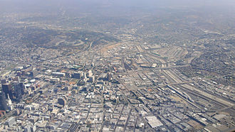 Union Station (Los Angeles) - Aerial view of LA Union Station area in 2014.