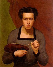 self-portrait of Janmot holding a brush in his left hand and a palette in his right